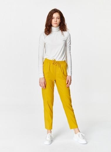 Mizalle Beli Lastikli Cepli Pantolon  Sarı